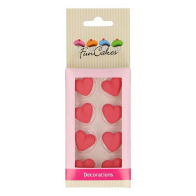 FUNCAKES SUGAR DECORATIONS HEART RED SET/8