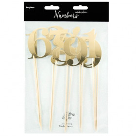 PARTYDECO CAKE TOPPERS CHIFFRES - OR SET/11