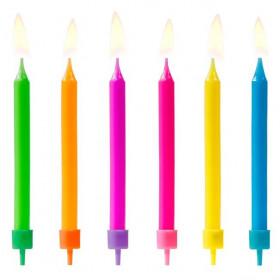 PartyDeco Bougies d'anniversaire Mix Coloré pcs/6