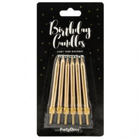 PartyDeco Bougies d'anniversaire Unies Or 6cm pcs/6
