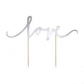 PARTYDECO CAKE TOPPER LOVE - ARGENT