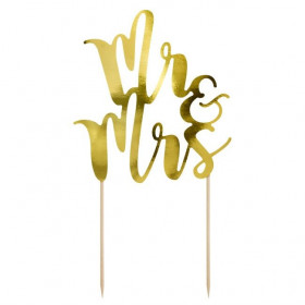 PARTYDECO CAKE TOPPER MR&MRS - OR